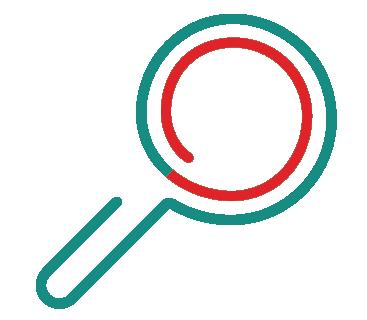 Migränjälpen symbol förstoringsglas